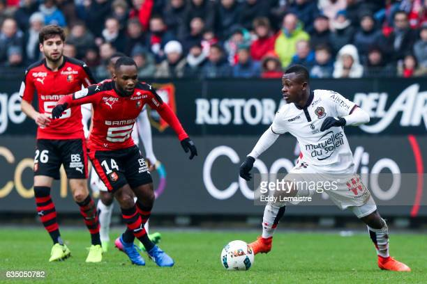 Aldo Kalulu of Rennes and Jean Michael Seri of Nice during the Ligue 1 match between Stade Rennais and OGC Nice at Roazhon Park on February 12 2017...