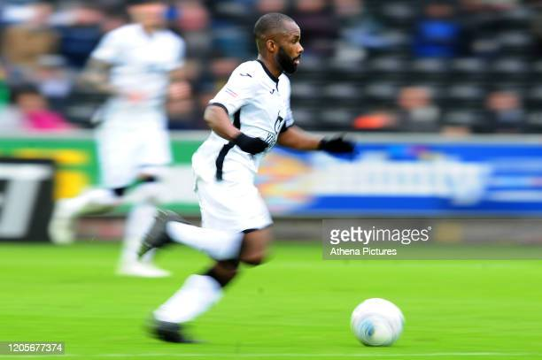 Aldo Kalulu of Swansea City in action during the Sky Bet Championship match between Swansea City and West Bromwich Albion at the Liberty Stadium on...
