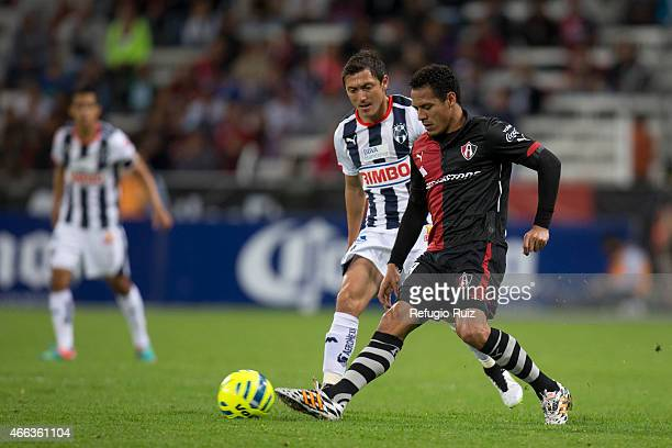 Aldo Leao of Atlas fights for the ball with Nery Cardozo of Monterrey during a match between Atlas and Monterrey as part of 10th round Clausura 2015...