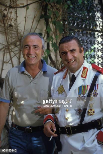 Aldo Maccione et le réalisateur lors du tournage du film 'Pizzaiolo et Mozzarel' réalisé par Christian Gion en juin 1985