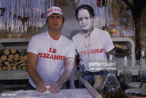 Aldo Maccione et Sidney Duteil lors du tournage du film 'Pizzaiolo et Mozzarel' réalisé par Christian Gion en juin 1985