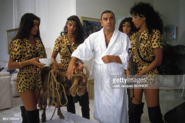 Aldo Maccione lors du tournage du film 'Pizzaiolo et Mozzarel' réalisé par Christian Gion en juin 1985