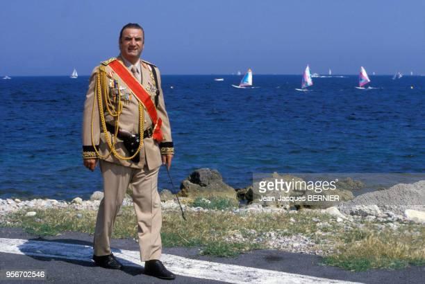 Aldo Maccione sur le tournage du film 'Pizzaiolo et Mozzarel' réalisé par Christian Gion en mai 1985 France
