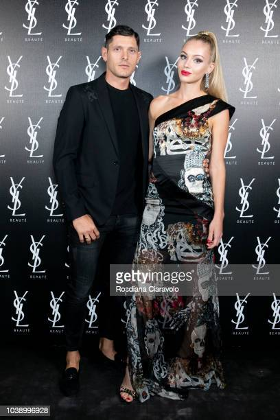 Aldo Montano and Olga Plachina attend 'Ysl Beauty Club Milan' during Milan Fashion Week Spring/Summer 2019 on September 23 2018 in Milan Italy