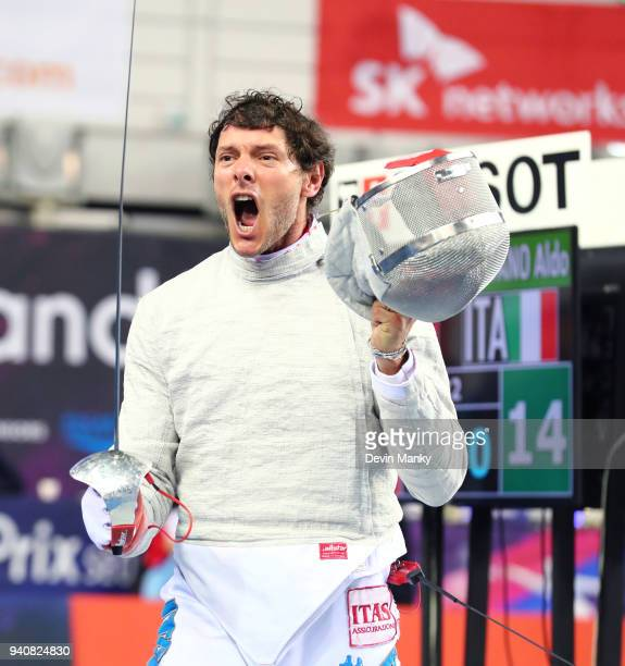 Aldo Montano of Italy celebrates a win during the final rounds of the SK Telecom Seoul Sabre Grand Prix on April 1 2018 at the SK Telecom Handball...