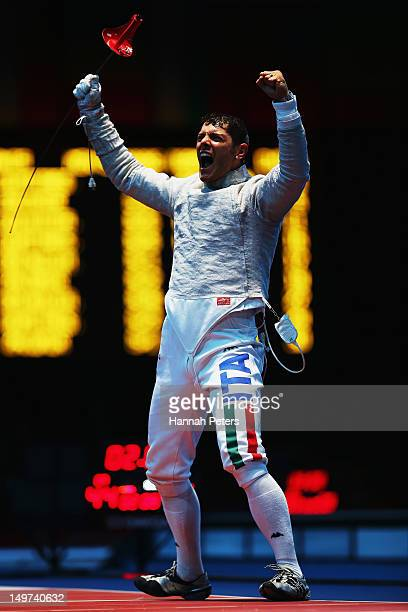 Aldo Montano of Italy celebrates beating Aliaksandr Buikevich of Belarus during the quarterfinal Men's Sabre Team Fencing on Day 7 of the London 2012...