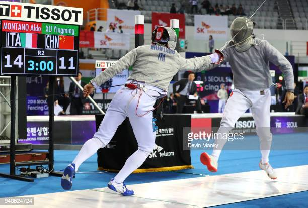 Aldo Montano of Italy fences Yingming Xu of China during the final rounds of the SK Telecom Seoul Sabre Grand Prix on April 1 2018 at the SK Telecom...