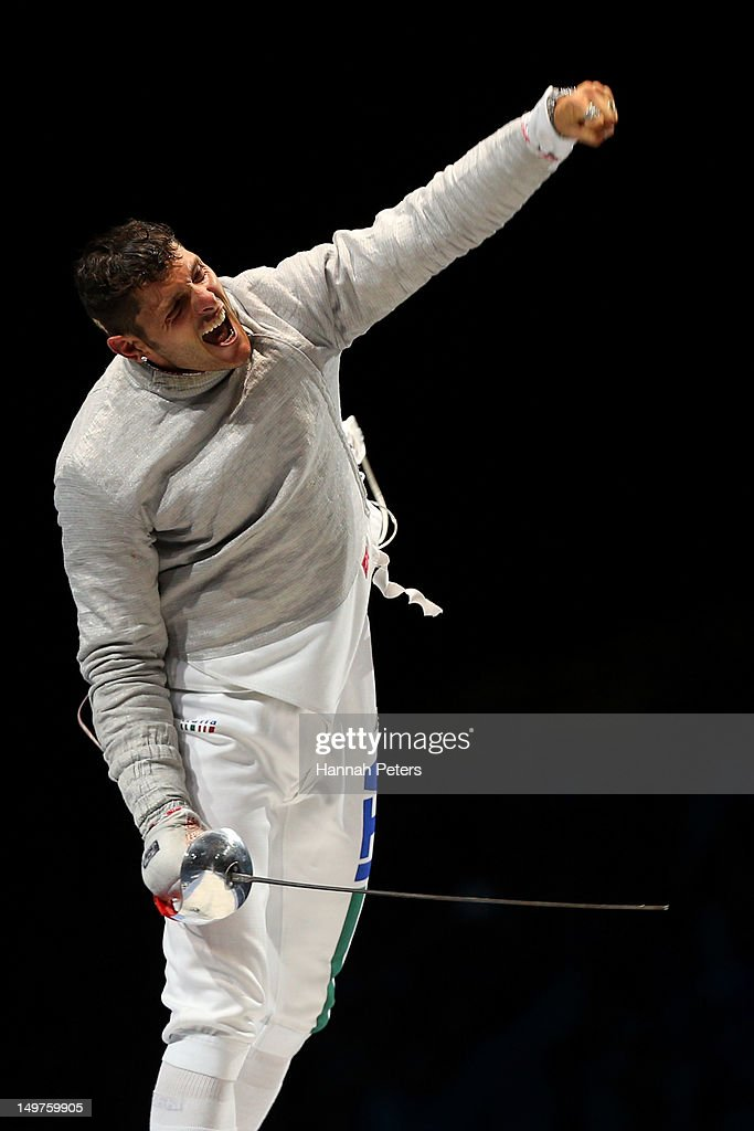 Aldo Montano of Italy reacts after winning the bronze medal by defeating Russia during the Men's Sabre Team Fencing on Day 7 of the London 2012 Olympic Games at ExCeL on August 3, 2012 in London, England.