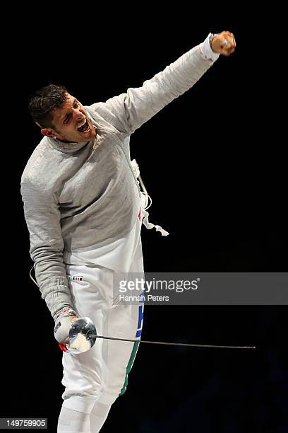 Aldo Montano of Italy reacts after winning the bronze medal by defeating Russia during the Men's Sabre Team Fencing on Day 7 of the London 2012...