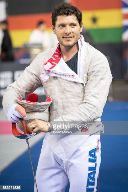 Aldo Montano of Italy smiles after a victory during competition at the SK Telecom Seoul Sabre Grand Prix on April 1st 2017 at the SK Telecom Handball...