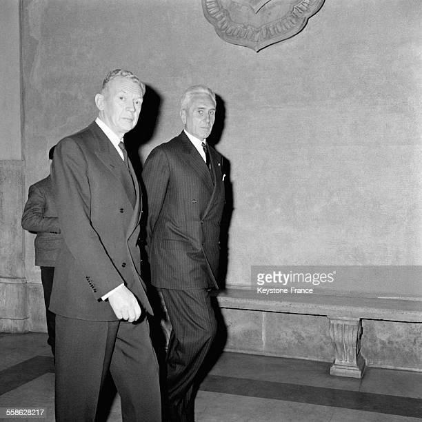 Aldo Moro et Maurice Couve de Murville en 1965