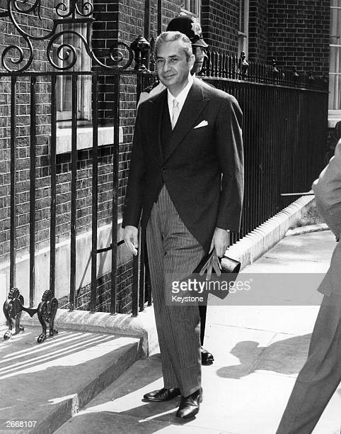 Aldo Moro the Italian politician and Prime Minister from 1963 to 1968 and again from 1974 to 1976 arriving at No 10 Downing Street He is on an...