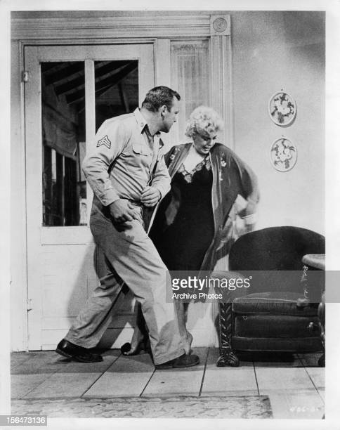 Aldo Ray slaps Barbara Nichols in scene from the film 'The Naked And The Dead' 1958