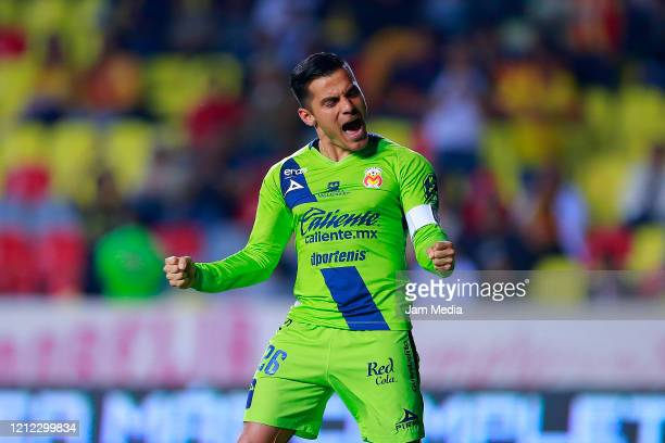 Aldo Rocha of Morelia celebrates after scoring the second goal of his team during the 10th round match between Morelia and Queretaro as part of the...