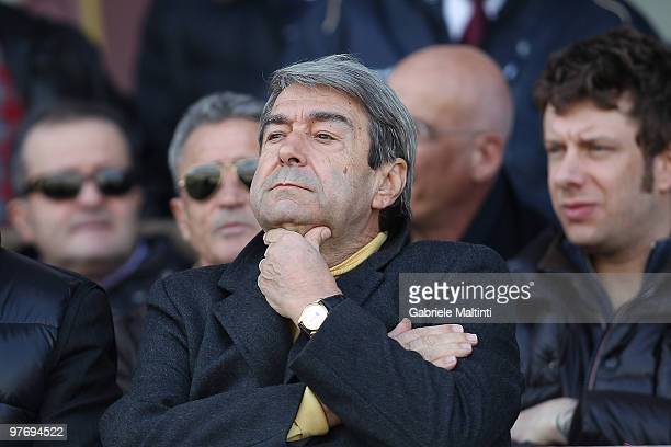 Aldo Spinelli President of AS Livorno Calcio gestures during the Serie A match between AS Livorno Calcio and AS Roma at Stadio Armando Picchi on...