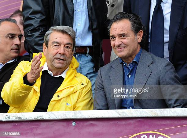Aldo Spinelli President of Livorno and Cesare Prandelli head coach of Italy chat during the Serie A match between AS Livorno Calcio and UC Sampdoria...