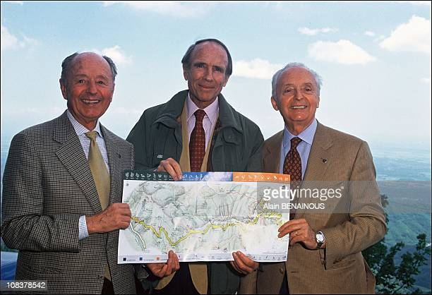 Aldo Zegna on the left and Sadruddin Aga Kahn in center Italy on May 27 1994