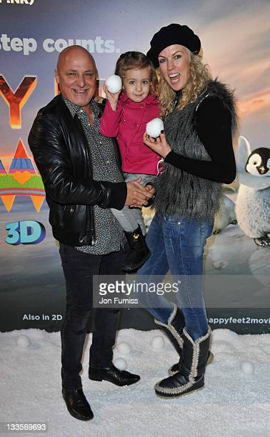 Aldo Zilli and Nikki Zilli attends the prepremiere party for Happy Feet Two at Grand Connaught Rooms on November 20 2011 in London England