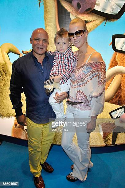 Aldo Zilli Nikki and Son Rocco attends the VIP screening of 'Ice Age 3' at Empire Leicester Square on June 21 2009 in London England