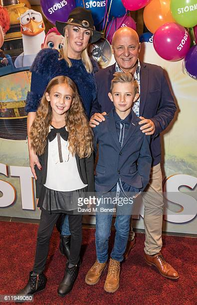 Aldo Zilli with wife Nikki and children Rocco and Twiggy attend a multimedia screening of Storks at Cineworld Leicester Square on October 2 2016 in...