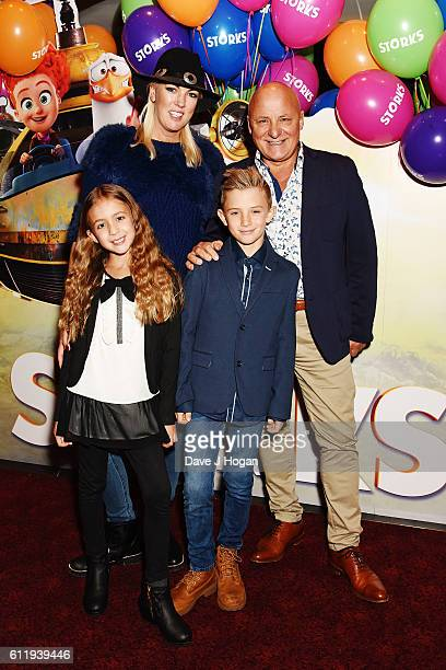 Aldo Zilli with wife Nikki and children Rocco and Twiggy attends a multimedia screening of Storks at Cineworld Leicester Square on October 2 2016 in...