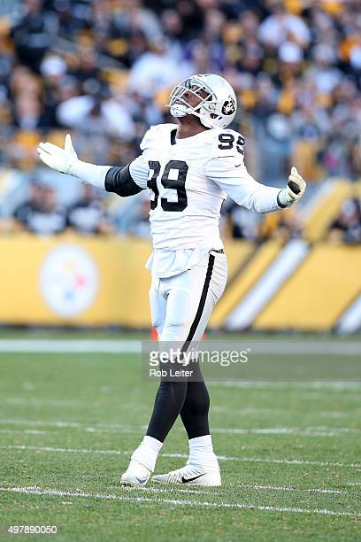 Aldon Smith of the Oakland Raiders celebrates during the game against the Pittsburgh Steelers at Heinz Field on November 8 2015 in Pittsburgh...