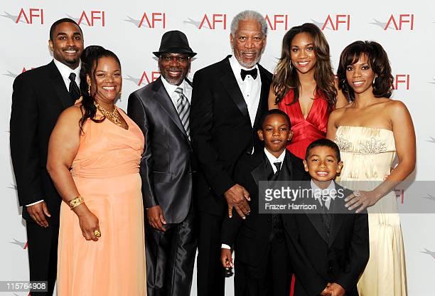 Aldric Johns, Deena Freeman, Alfonso Freeman, 39th Life Achievement Award recipient Morgan Freeman, Deion Hines, Alexis Freeman, Morgana Freeman and...