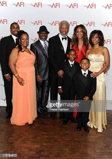Aldric Johns, Deena Freeman, Alfonso Freeman, 39th Life Achievement Award recipient Morgan Freeman, Deion Hines, Alexis Freeman, Morgana Freeman and...