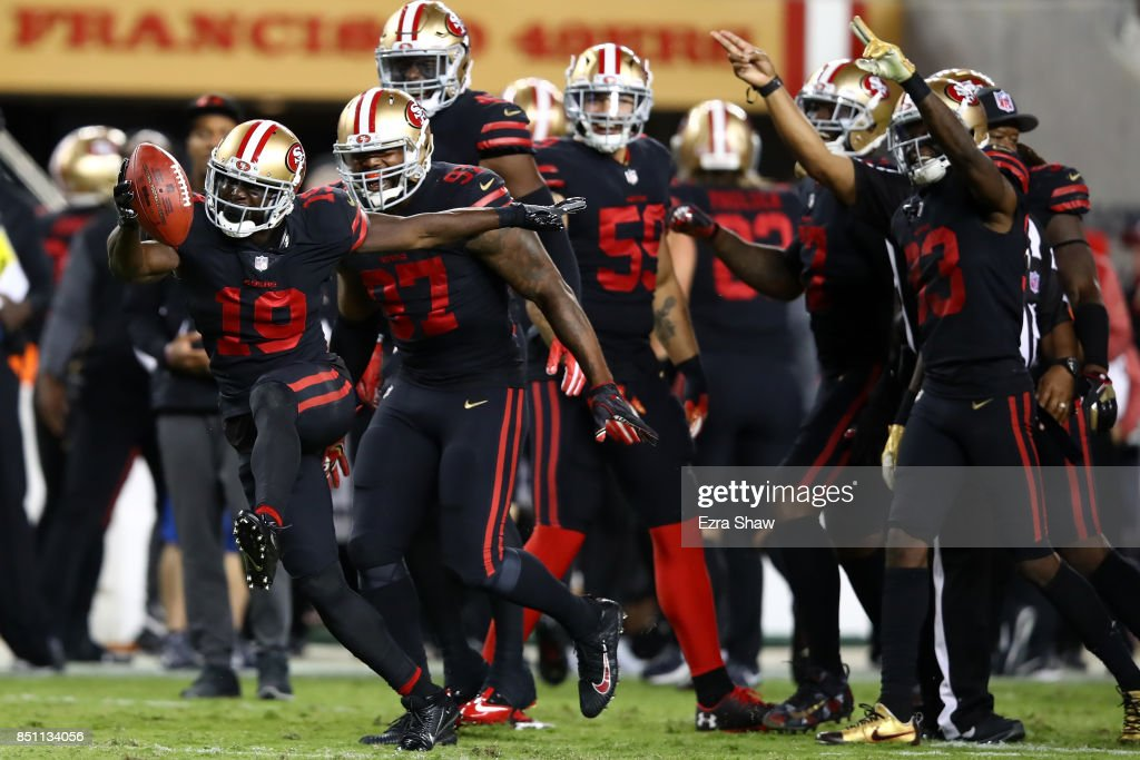 Aldrick Robinson #19 of the San Francisco 49ers celebrates after recovering a fumble by the Los Angeles Rams during their NFL game at Levi's Stadium on September 21, 2017 in Santa Clara, California.