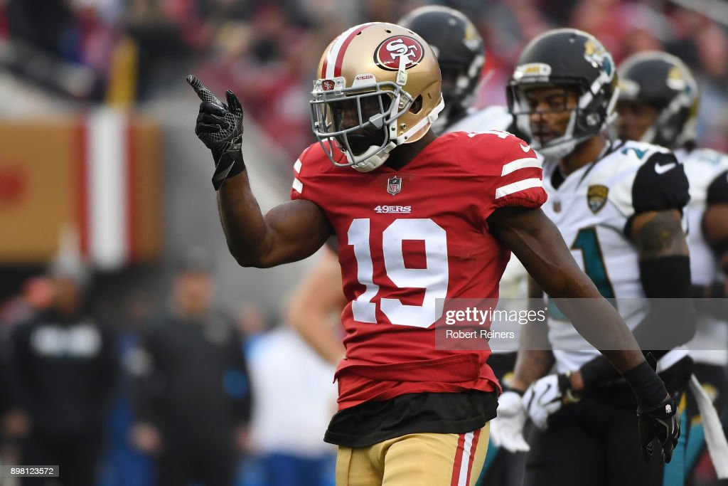 Aldrick Robinson #19 of the San Francisco 49ers reacts after a catch against the Jacksonville Jaguars during their NFL game at Levi's Stadium on December 24, 2017 in Santa Clara, California.