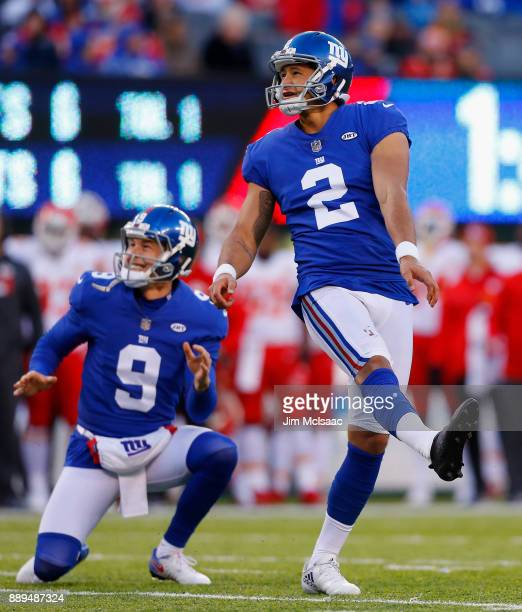 Aldrick Rosas and Brad Wing of the New York Giants in action against the Kansas City Chiefs on November 19 2017 at MetLife Stadium in East Rutherford...