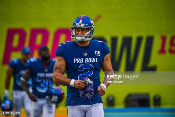 Aldrick Rosas of the New York Giants gets introduced before the 2019 NFL Pro Bowl at Camping World Stadium on January 27 2019 in Orlando Florida