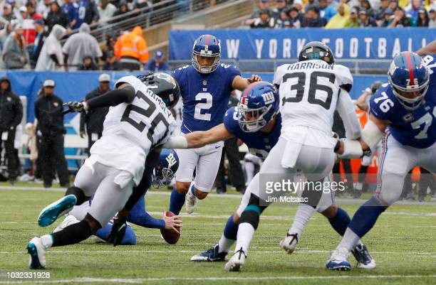 Aldrick Rosas of the New York Giants in action against the Jacksonville Jaguars on September 9 2018 at MetLife Stadium in East Rutherford New Jersey...