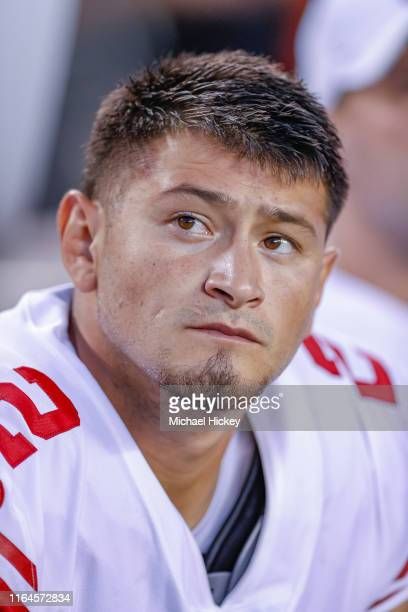 Aldrick Rosas of the New York Giants is seen during the preseason game against the Cincinnati Bengals at Paul Brown Stadium on August 22 2019 in...