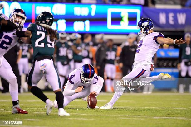Aldrick Rosas of the New York Giants kicks a field goal against the Philadelphia Eagles during the first quarter at MetLife Stadium on October 11...