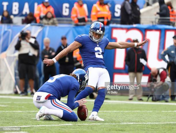 Aldrick Rosas of the New York Giants kicks a field goal against the Washington Redskins during their game at MetLife Stadium on October 28 2018 in...