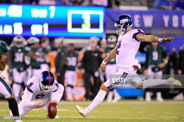 Aldrick Rosas of the New York Giants kicks a field goal against the Philadelphia Eagles at MetLife Stadium on October 11 2018 in East Rutherford New...