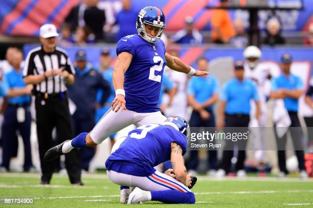 Aldrick Rosas of the New York Giants kicks a field goal against the Los Angeles Chargers during an NFL game at MetLife Stadium on October 8 2017 in...