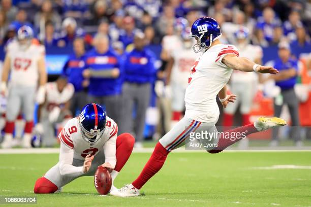 Aldrick Rosas of the New York Giants kicks a field goal in the game against the Indianapolis Colts in the second quarter at Lucas Oil Stadium on...
