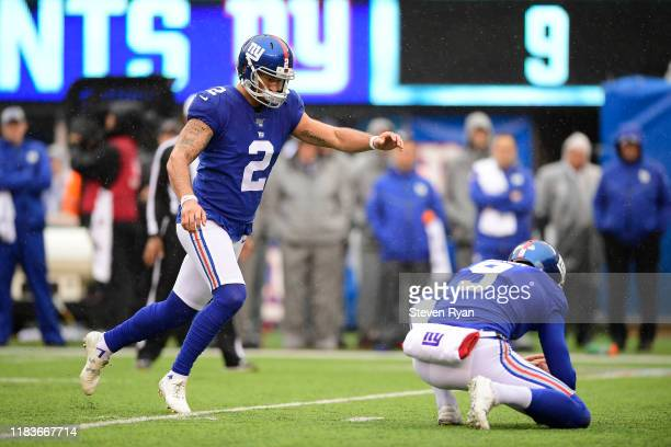 Aldrick Rosas of the New York Giants kicks an extra point against the Arizona Cardinals at MetLife Stadium on October 20 2019 in East Rutherford New...