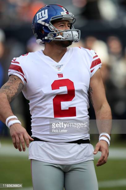 Aldrick Rosas of the New York Giants looks on before the game against the Chicago Bears at Soldier Field on November 24 2019 in Chicago Illinois The...