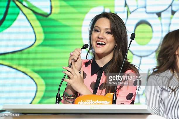 Ale Muller speaks onstage during the Kids Choice Awards Mexico 2013 at Pepsi Center WTC on August 31 2013 in Mexico City Mexico