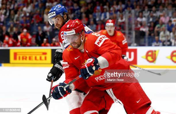 Ale xander Ovechkin of Russia challenges Michael Frolik Czech Republic during the 2019 IIHF Ice Hockey World Championship Slovakia third place...