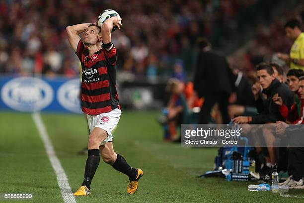 ALeague semi final Western Sydney Wanderers FC v Brisbane Roar FC at Parramatta Stadium Wanderers Shannon Cole takes a throw in Friday 12th April...