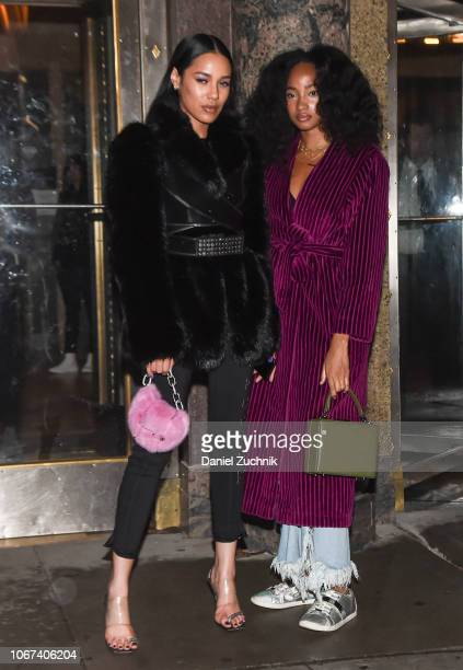Aleali May and Candace Marie Stewart are seen outside the Alexander Wang Fall 2019 show on December 2 2018 in New York City