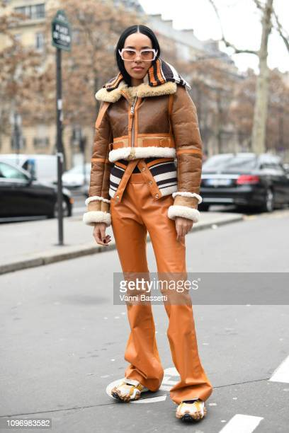 Aleali May attends the Acne Femme Fall/Winter 20192020 show as part of Paris Fashion Week on January 20 2019 in Paris France