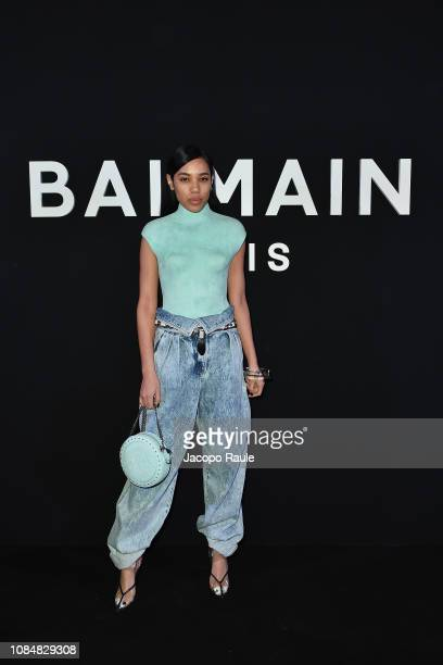 Aleali May attends the Balmain Homme Menswear Fall/Winter 20192020 show as part of Paris Fashion Week on January 18 2019 in Paris France