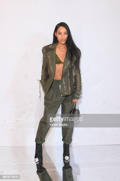 Aleali May attends the Balmain Menswear Spring/Summer 2019 show as part of Paris Fashion Week on June 24 2018 in Paris France
