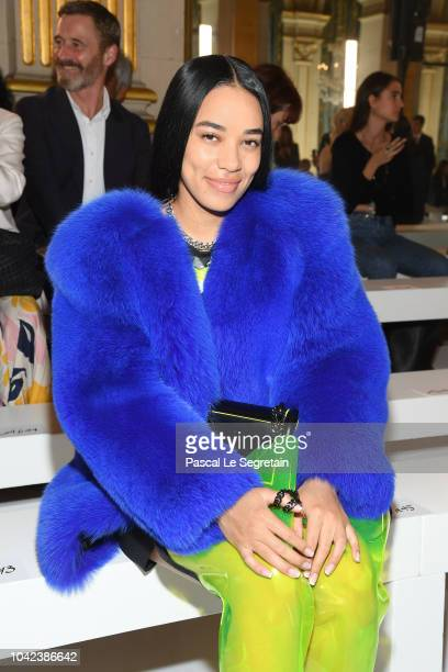 Aleali May attends the Balmain show as part of the Paris Fashion Week Womenswear Spring/Summer 2019 on September 28 2018 in Paris France