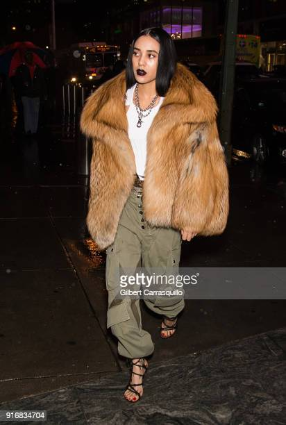 Aleali May is seen arriving to Alexander Wang fashion show during New York Fashion Week at 4 Times Square on February 10 2018 in New York City